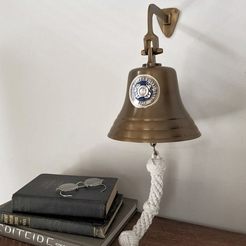 Coast Guard Pewter Emblem on 7 Inch Brass Bell - Antiqued