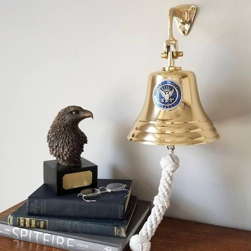 Navy Pewter Emblem on 7 Inch Brass Bell - Military