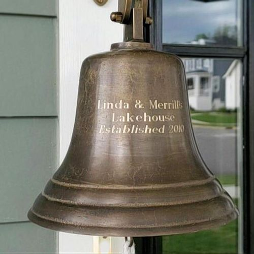 8 Inch Brass Engravable Ship/Wall Bell - Distressed