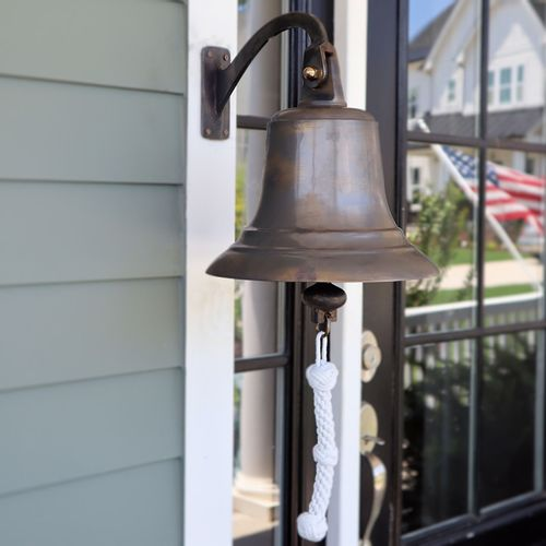 12 Inch Aged Bronze Brass Fluted Wall Bell