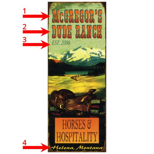 Horses and Hospitality Personalized Ranch or Cabin Sign