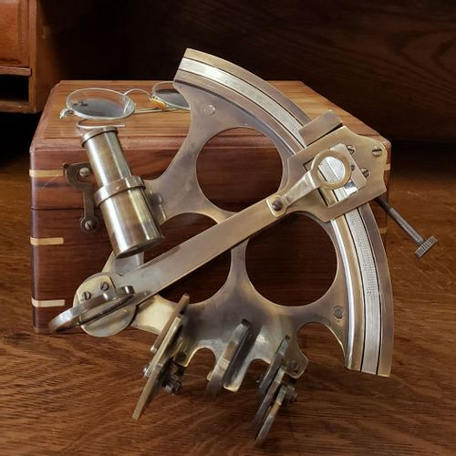 8 Inch Antiqued Brass Sextant with Box