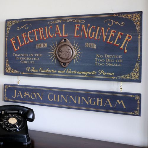 Electrical Engineer Wood Sign with Optional Personalization