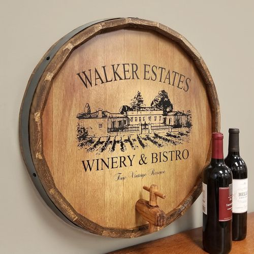 Personalized Wine Estate Quarter Barrel Sign with Spigot