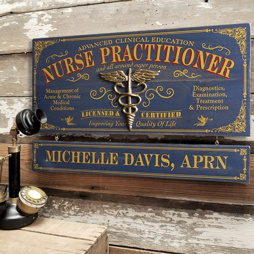 Nurse Practitioner Wood Sign with Optional Personalization