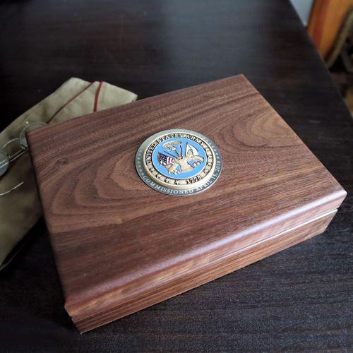 Army Walnut Keepsake Box with Colored Medallion