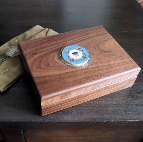 Coast Guard Walnut Keepsake Box with Colored Medallion