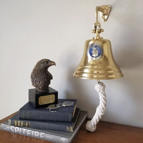 Air Force Pewter Emblem on 7 Inch Brass Bell - Polished