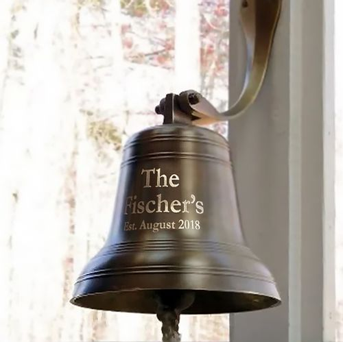 10 Inch Ridged Antiqued Brass Wall Bell - 18 pounds