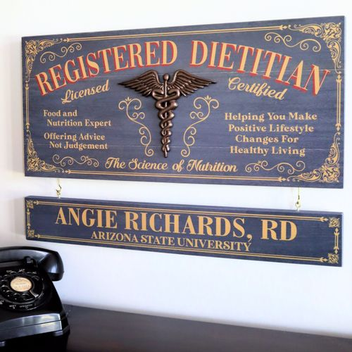 Registered Dietitian Wood Sign with Optional Personalization