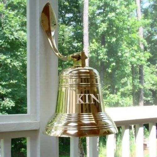 12 Inch Ridged Polished Brass Wall Bell with Mount