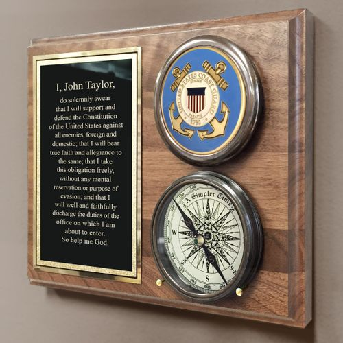 Coast Guard Colored Medallion Compass On Plaque