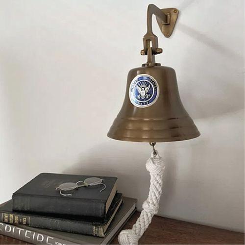 Navy Pewter Emblem on 7 Inch Brass Bell- Antiqued