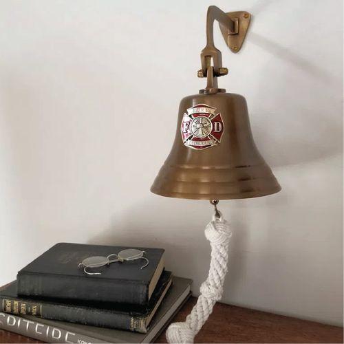 Firefighter Pewter Emblem on 7 Inch Brass Bell- Antiqued