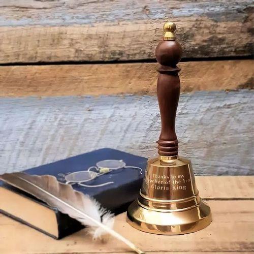 Medium Brass Hand Bell- 9 Inch Tall- Polished