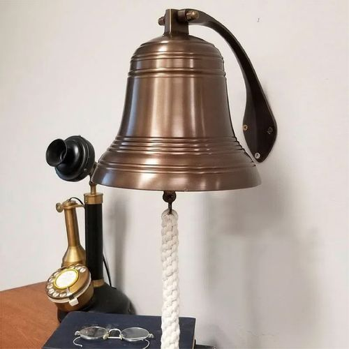 Pre-Order 8 Inch Ridged Brass Engravable Wall Bell- Antiqued
