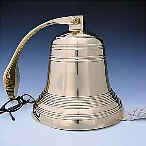 8 Inch Ridged Brass Engravable Wall Bell- Polished