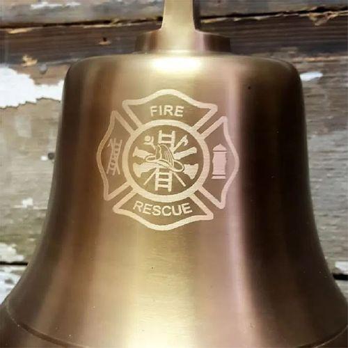 Fire Logo Antiqued Brass Wall Bell- 7 inch