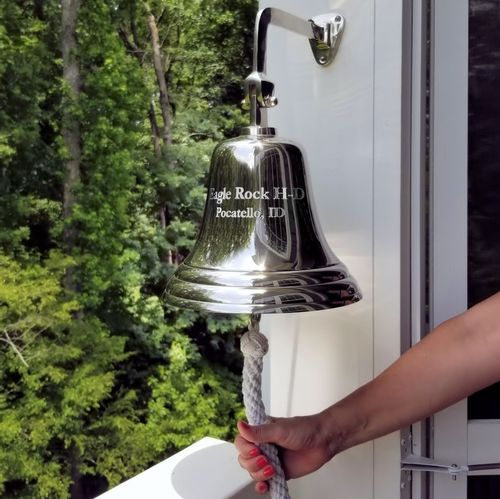 10 Inch Brass Engravable Wall Bell- Nickel