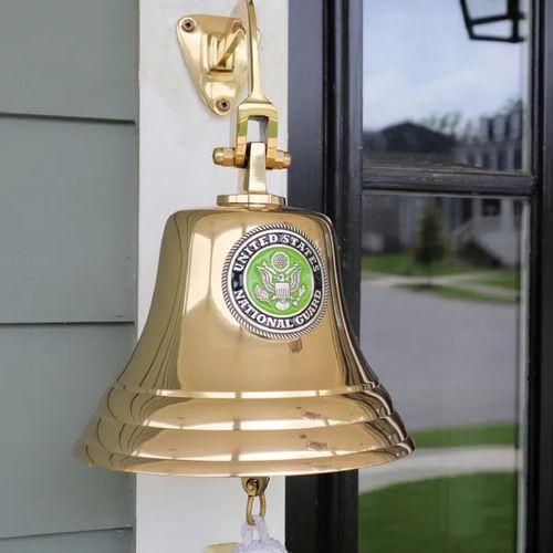 National Guard Pewter Emblem on Polished Brass - 7 Inch