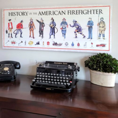 History Of The American Firefighter Wood Sign
