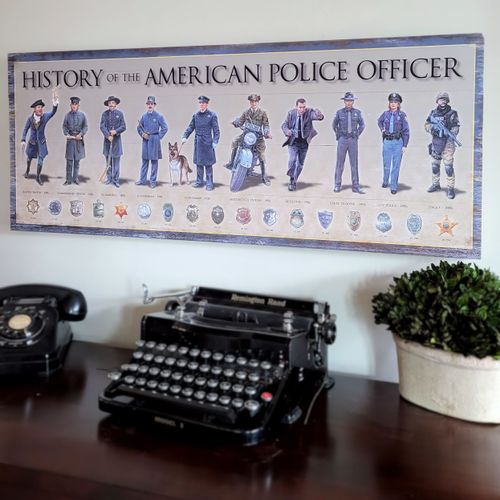 History Of The American Police Officer Wood Sign