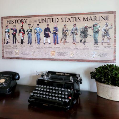 History of the United States Marine Wood Sign