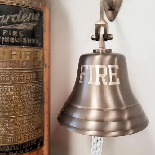 Engraved Fire Bell in Antiqued Brass - 7 Inch