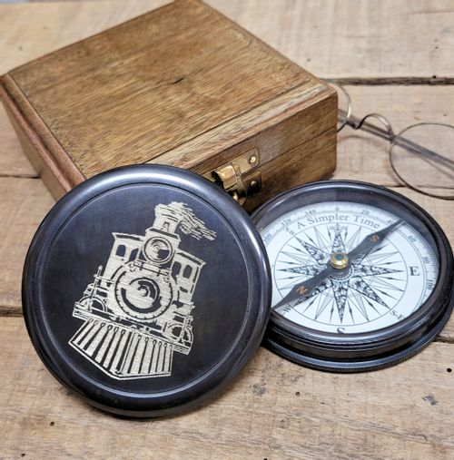 Engraved Railroad Compass