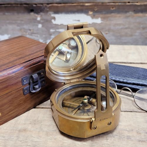 Antiqued Brass Military Compass - 3 Inch