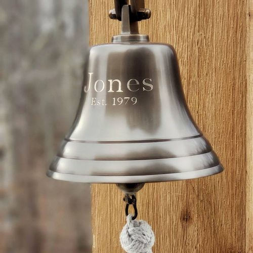 7 Inch Brass Engravable Wall Bell - Antiqued