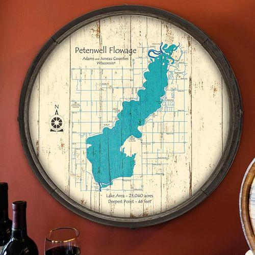 Choose Your Lake Map Art Barrel End Sign