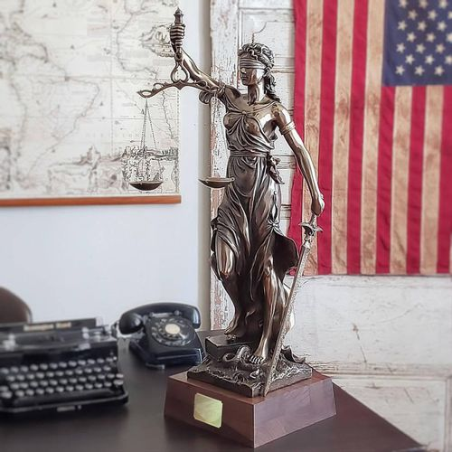 Lady Justice Sculpture with Wood Base