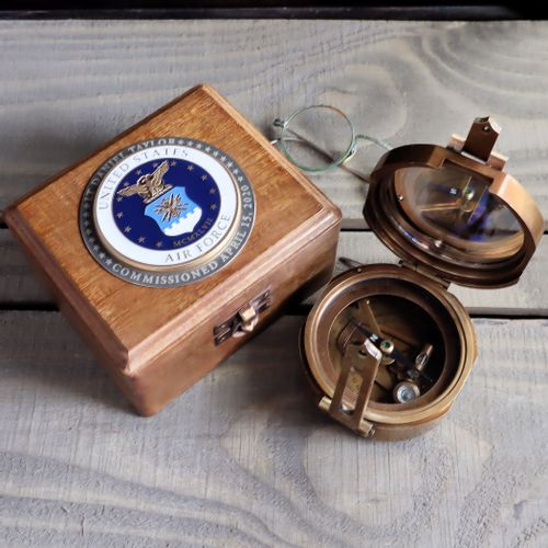 Military Compass with Personalized US Air Force Medallion