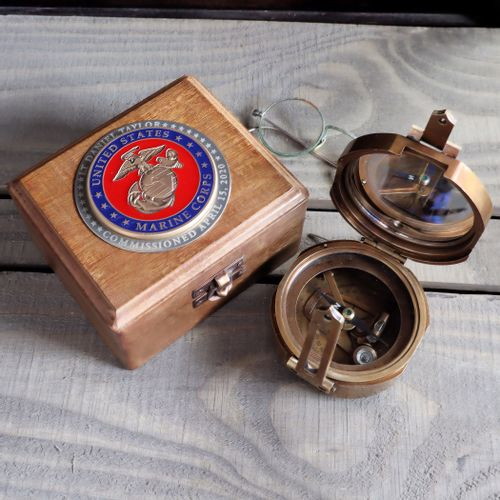 Pre-Order Military Compass with Personalized Marine Corps Medallion