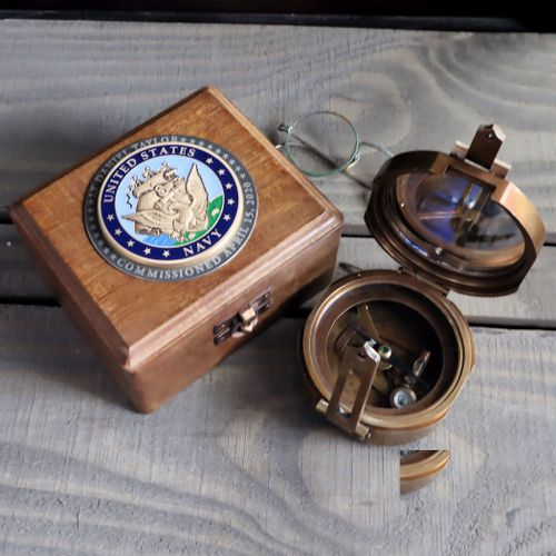 Military Compass with Personalized Navy Medallion