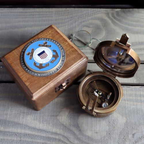 Military Compass with Personalized Coast Guard Medallion
