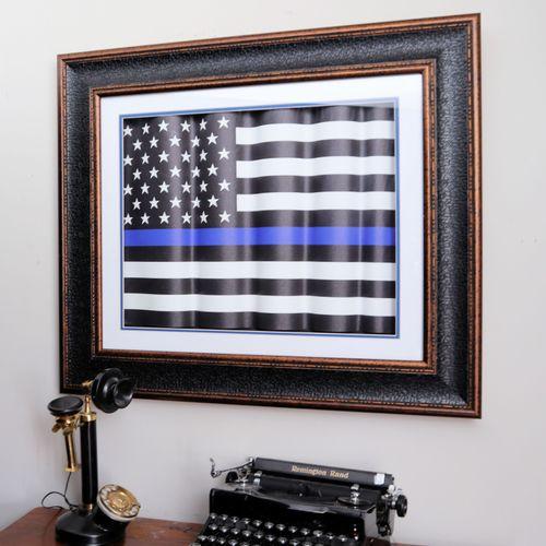 Thin Blue Line Framed Flag Shadowbox