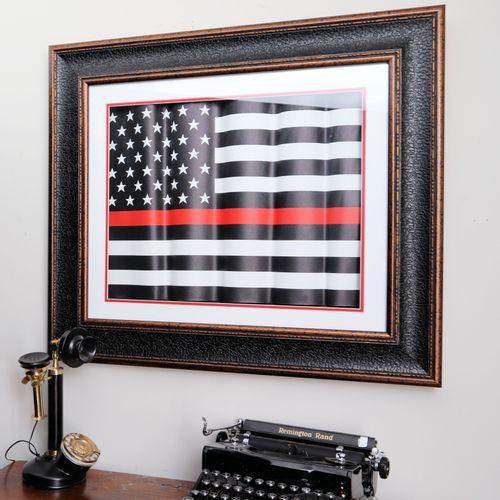 Thin Red Line Framed Flag Shadowbox