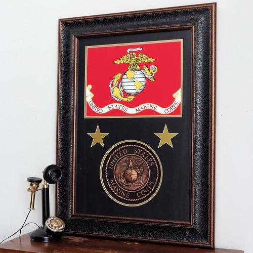 Framed US Marine Corps Flag and Medallion