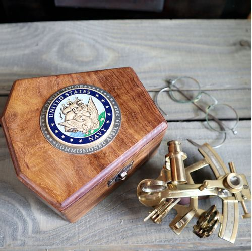 4in Brass Sextant With Personalized Navy Medallion