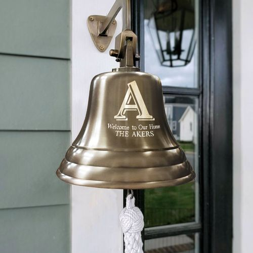 Family Name Initial Wall Bell - Antiqued