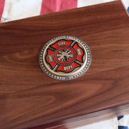 Fire Fighter Walnut Keepsake Box