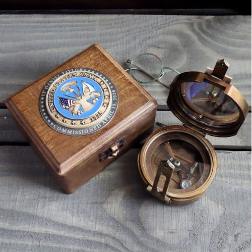 Military Compass with Personalized US Army Medallion