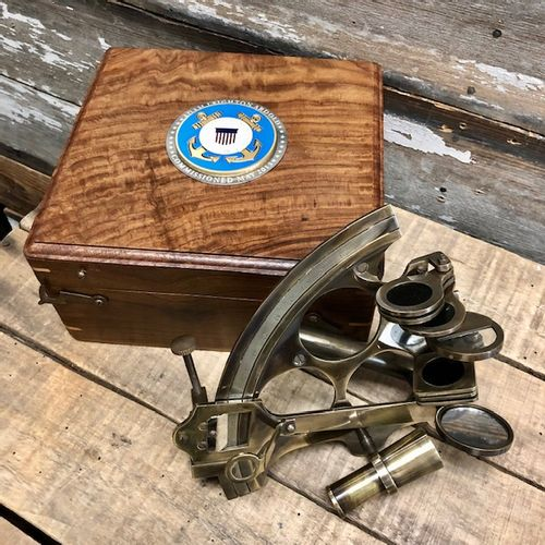 8 Inch Sextant With personalized Coast Guard Medallion