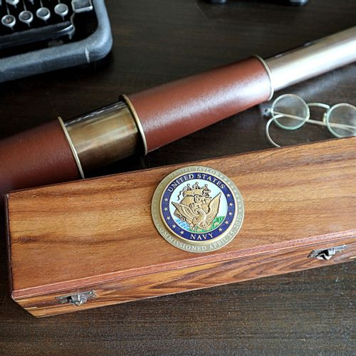 Large Telescope with Personalized Navy Medallion