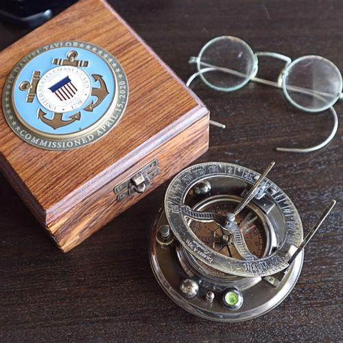 Sundial Compass Personalized Coast Guard Medallion