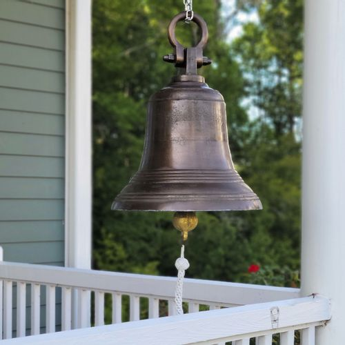18 Inch Distressed Brass Ridged Bell with Shackle