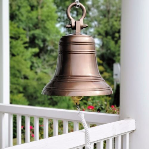 18 Inch Ridged Antiqued Brass Bell with Shackle
