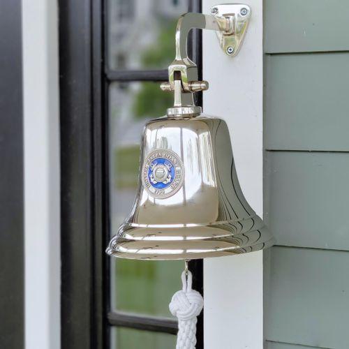 Coast Guard Pewter Emblem on 8 Inch Brass Bell - Nickel